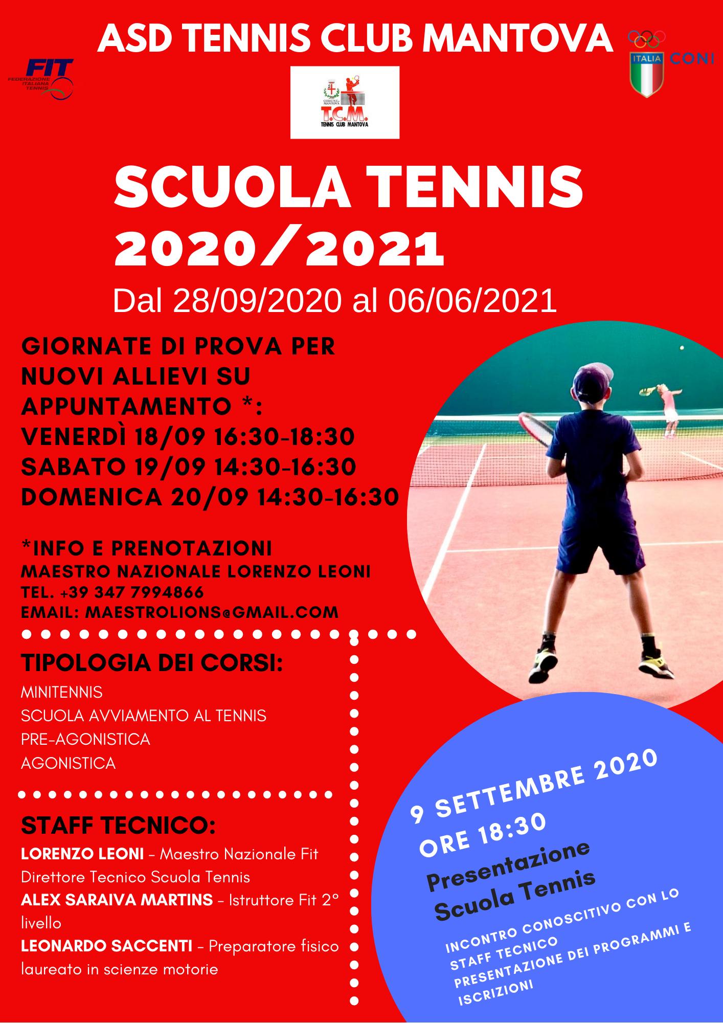 locandina scuola tennis 2020-2021